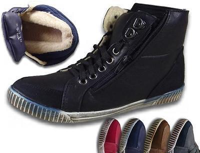 Damen Knöchelschuhe Boots NEU Leder-Optik Winterschuhe gefüttert Sneaker @25925