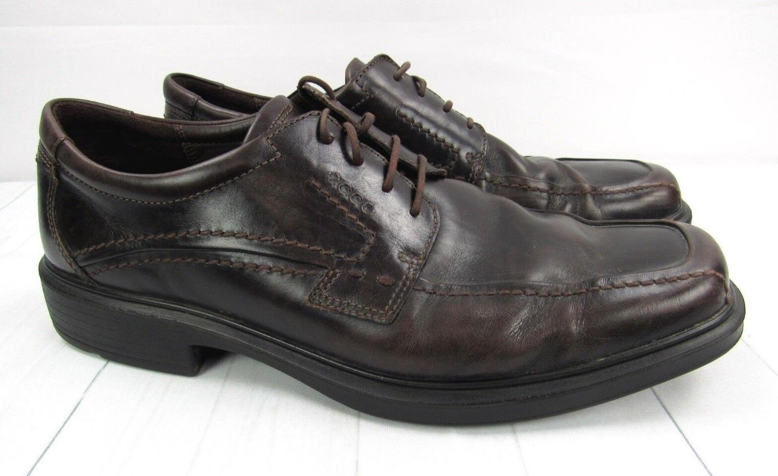ECCO Mens Brown Leather Wingtip Dress shoes Light Shock Point  EU 47 US 13 14
