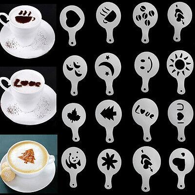 16Pcs Cappuccino Coffee Machine Barista Stencils Template Strew Pad Duster Spray