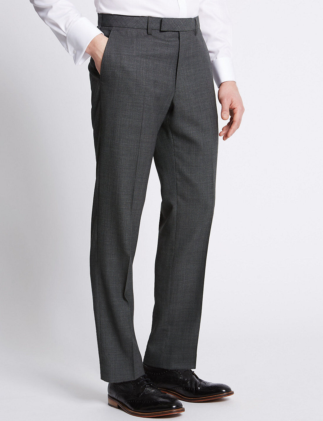 M&S COLLECTION Grey Textured Tailored Fit Trousers   GREY