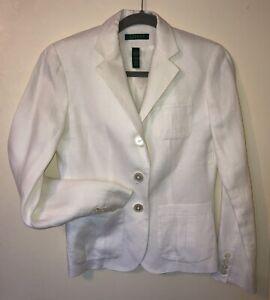 RALPH LAUREN White Linen Blazer Jacket Sz 2 NWOT