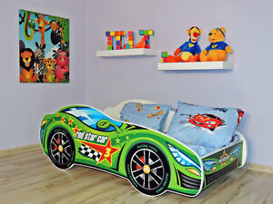 Image Is Loading Racing Car Bed Green Childrens With Mattress