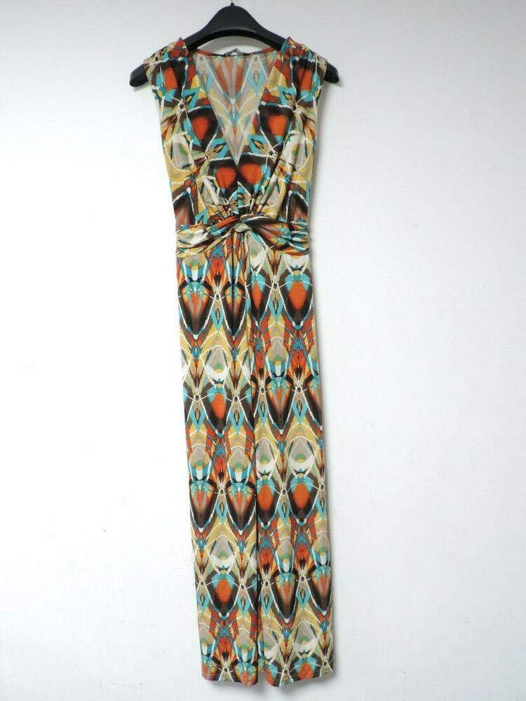 Kaléidoscope Nœud Avant Robe Longue Multicolore Taille Uk 10 Rrp £ 45 Dh002 Kk 15