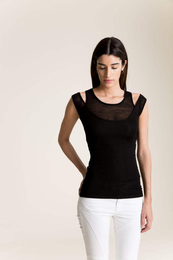 Marcellamoda Sheer schwarz Double Layer Tanktop