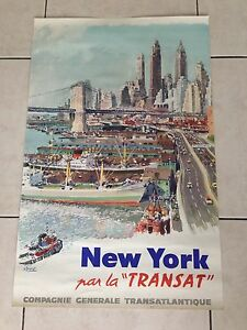 AFFICHE-ORIGINALE-ANCIENNE-NEW-YORK-PAR-LA-TRANSAT-SIGNEE-ALBERT-BRENET