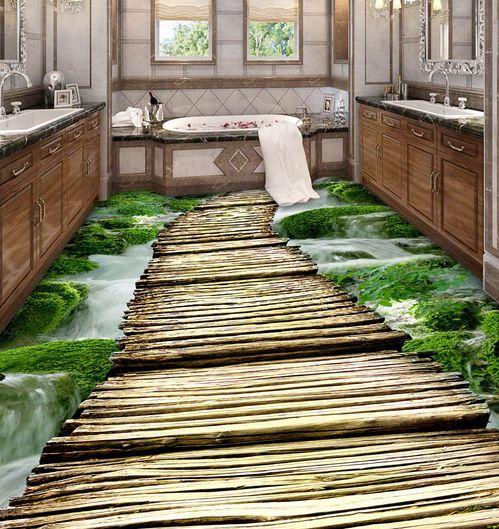 3D Waterfall Bridge 098 Floor Floor Floor WallPaper Murals Wall Print Decal 5D AJ WALLPAPER 0acbd7