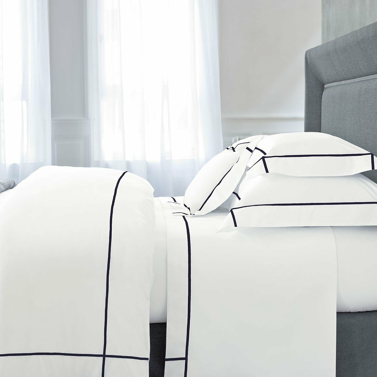 FRANCE YVES DELORME ATHENA COTTON PERCALE PILLOWCASE WITH FarbeFUL STITCH