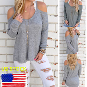 ea999a2aa603c6 Lady Cut Out Cold Shoulder Pullover Long Sleeve Casual T-shirt Loose ...