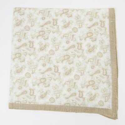 Aspirante Aquascutum London 105 $ Nuovo Beige Bianco Ornamento Motivo Cachemire 100% Lino Morbido E Antislipore