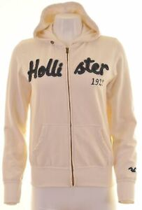 Hollister-Femme-Sweat-a-Capuche-Pull-Taille-10-S-Blanc-coton-ample-HG12