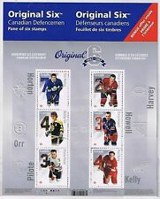 2014 CANADA ORIGINAL 6 NHL HOCKEY TEAMS 6 HOCKEY LEGENDS STAMPS SOUVENIR SHEET