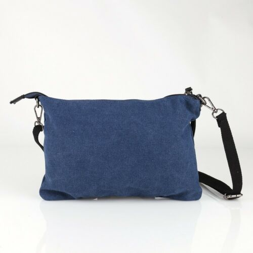 Stern Umhänge Tasche Cross Strass Bag Shopper Clutch Glitzer Canvas Jeans Stoff