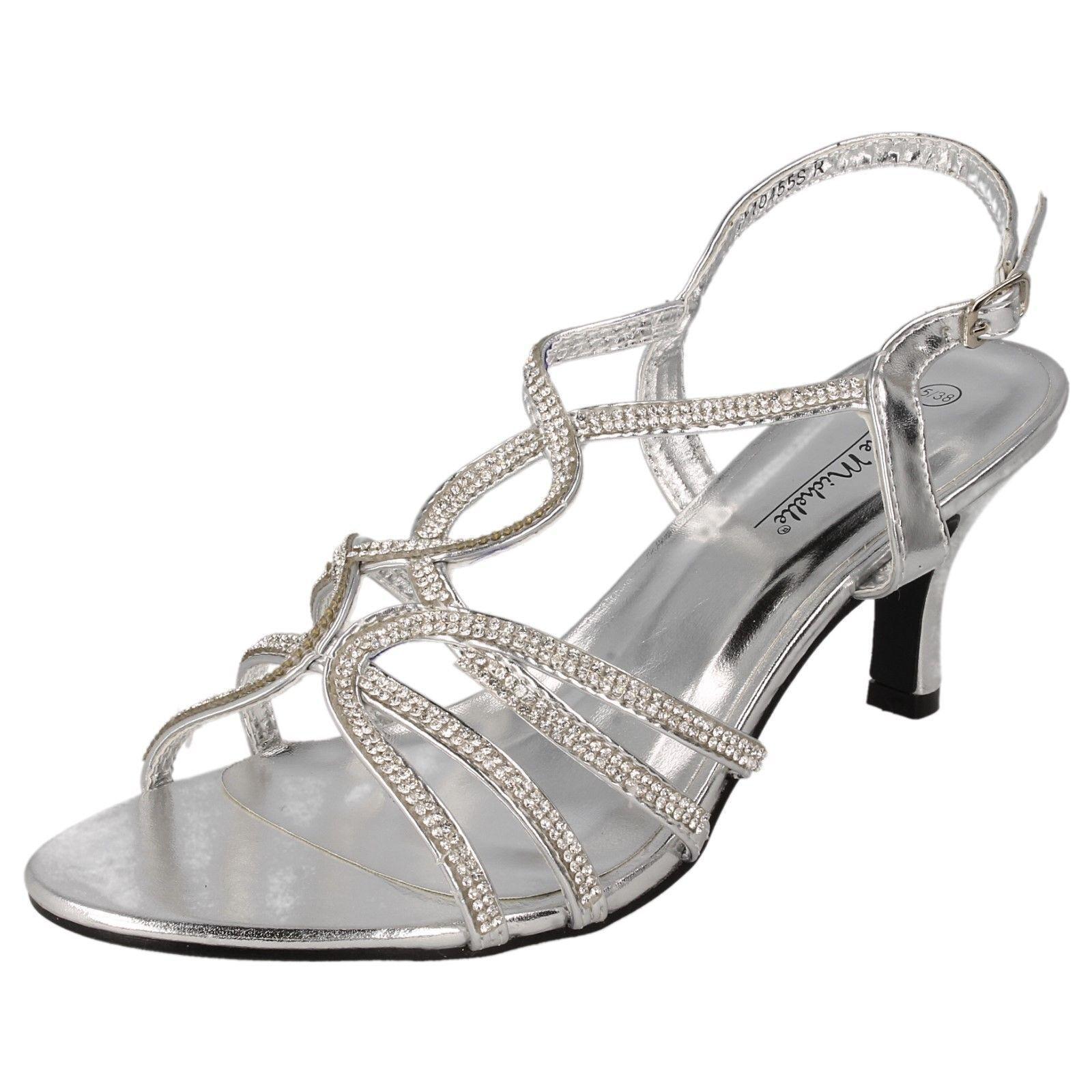 Anne Michelle F10455 Señoras (32B) Plata Correa Diamante Zapato (32B) Señoras 7ec2b7