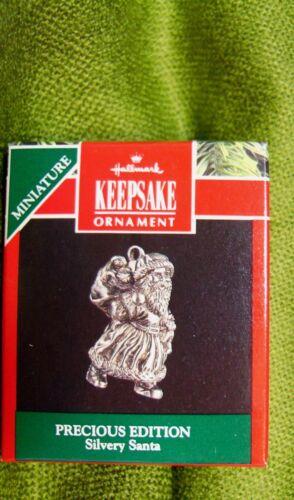 1991 Hallmark Miniature Ornament Precious Edition Silvery Santa