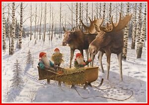 Scandinavian Swedish Christmas Poster Print Moose Tomte Gnome J Bergerlind BO532