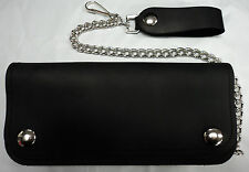 """7 1/2"""" American Made Leather Trucker/Biker Chain Drive Wallet with Silver Snaps"""