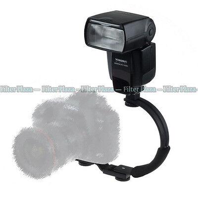 C-shape Adjustable Hot Shoe Flash Bracket for Video Light DSLR Camera Camcorder