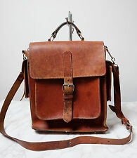 Vintage 70s Rich Tan Brown GREEK Leather Classic Saddle Satchel Shoulder Bag