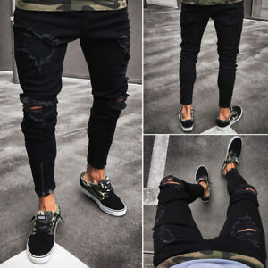 Cool-Men-039-s-Ripped-Skinny-Jeans-Destroyed-Frayed-Slim-Fit-Denim-Pants-Trousers
