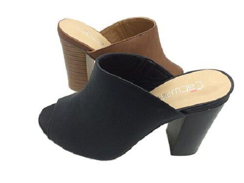 Ladies Shoes Catwalk Ariana Black or Size Tan Stacked Heel Mule Size or 6 - 10 Shoe 09506c
