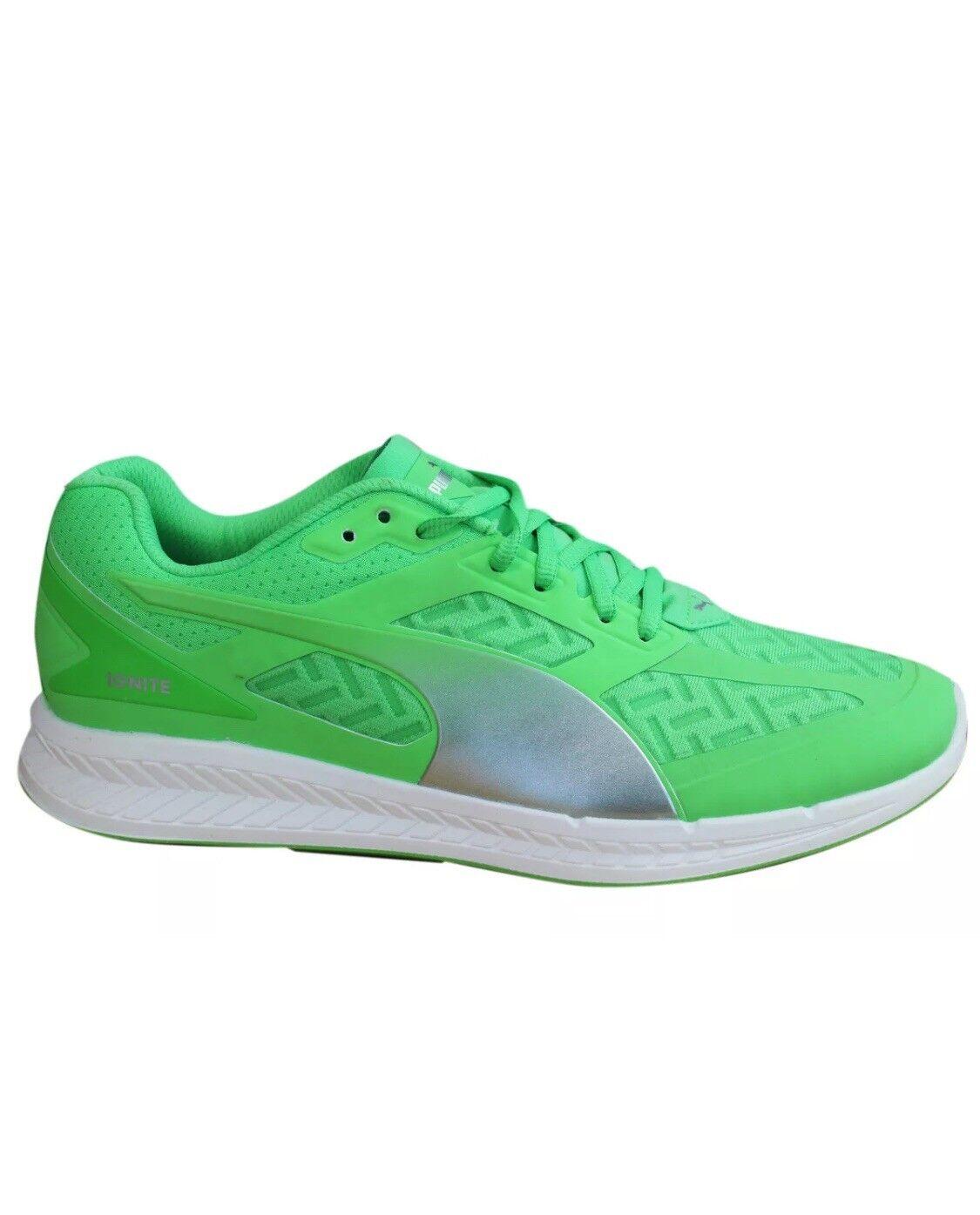 Puma Mens Ignite PowerCool Running Shoe Fluorescent Green/Silver