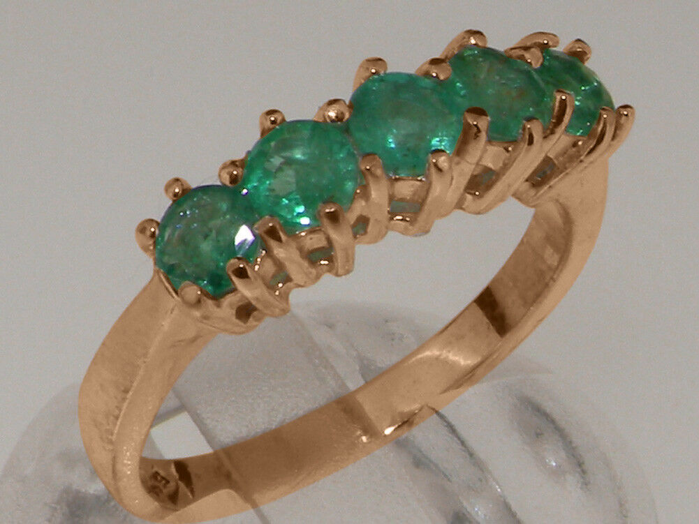 10k pink gold Natural Emerald Womens Eternity Ring - Sizes 4 to 12