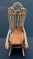"Antique Folk Art Rocking Chair Doll Size Pine Hide Seat Cushion 18.5"" X 7"""