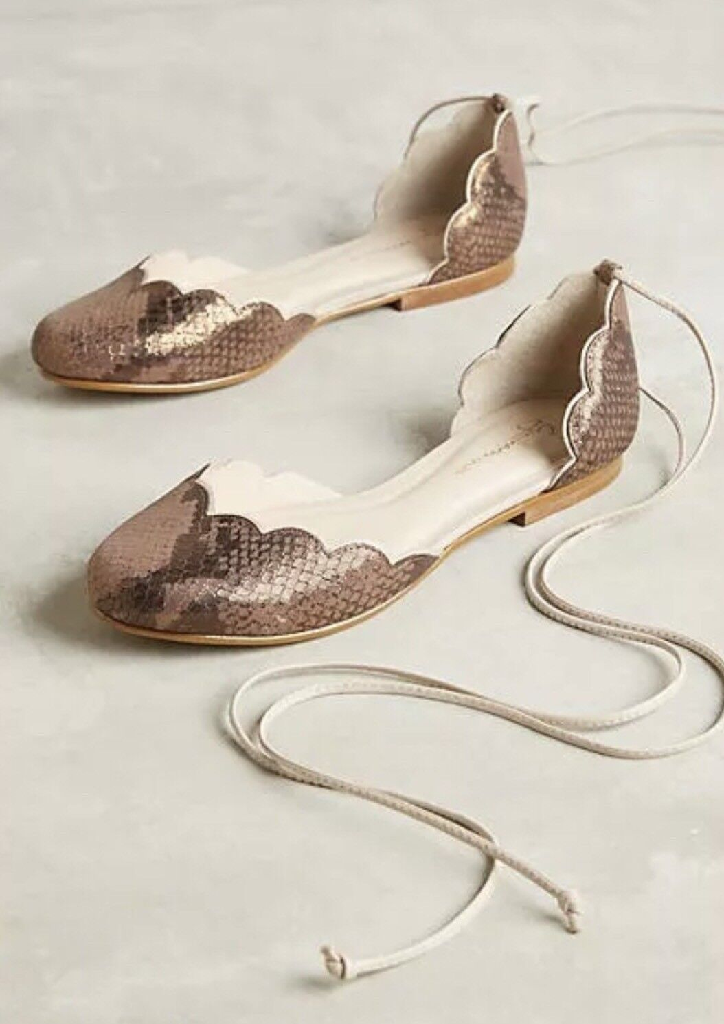 NEW Anthropologie Scalloped D'orsay Flats by Guilhermina Bronze Print Größe 37