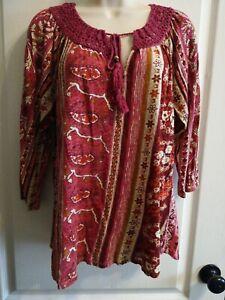 Women-039-s-LUCKY-BRAND-Boho-Crochet-Lace-Tassle-3-4-Sleeve-LARGE-Cotton-Top