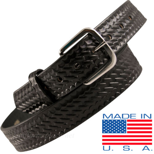 Men Boston Leather 1-1//2 Off Duty Belt 6606 USA MADE BLACK 30-60 Plain Buckle
