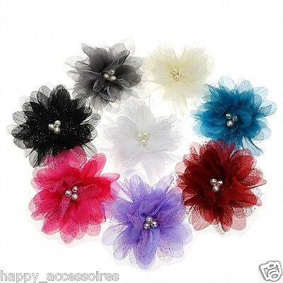 Haarblume Haarblüte Haarklammer Ansteckblume Fascinator Brosche - 8 Farben - NEU