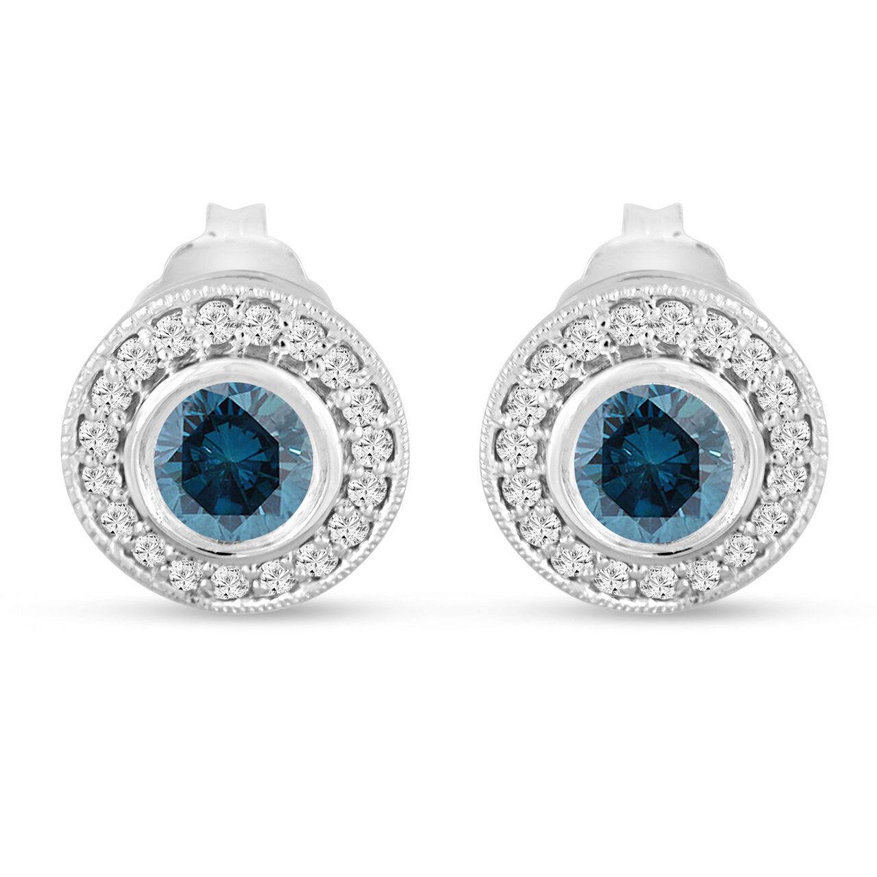 Platinum Enhanced bluee Diamond Stud Earrings Halo 0.84 Carat Bezel & Micro Pave