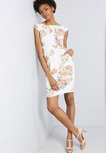 ModCloth-039-S-Elegante-Vestido-Floral-reflexiones-Vaina-Marfil-Con-Bolsillos-Pequeno