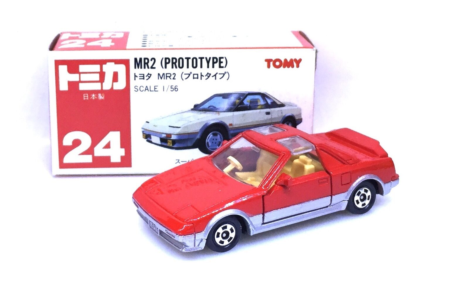 MADE IN JAPAN TOMY TOMICA NO 24 TOYOTA MR-2 MR2 PredOTYPE RED 1 56 DIECAST CAR