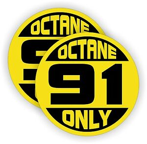 Details about (2) 91 OCTANE ONLY Fuel Door Vinyl Stickers | Truck Car Gas  Pump Decals | Labels