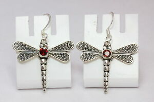Edle-0-5-Carat-Granat-Libellen-Ohrhaenger-925-Silber-Ohrring-Libelle-blutroter-Ed