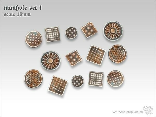 Manhole Cover Set 1 (14) Tabletop Type Base Design Terrain Channel Sewer