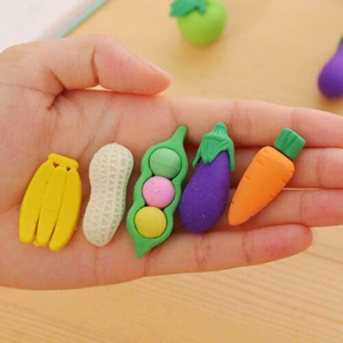 Funny Food Vegetable Rubber Eraser Kids Student Stationery Peanut Carrot Cu V6F1
