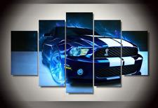 Ford Mustang Shelby Blau Wandbilder Set Leinwand weiße Streifen Portrait Neu Top