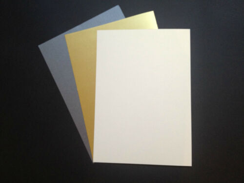 Silver Gold 50 x A4 Pearlescent Shimmer Centura Card 260gsm ~ White Gold