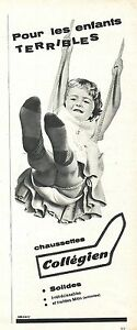 PUBLICITE-ADVERTISING-034-1960-COLLEGIEN-chaussettes-solides-irretrecissables