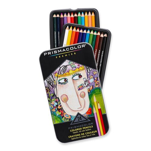 Prismacolor Premier COLORED PENCILS Set of 24 in TIN 1753428 Brand NEW!