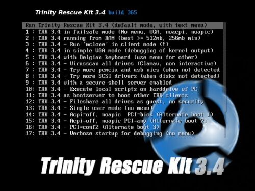 Trinity Rescue CD,Password Reset,Cloning,Virus Scans,System Recovery