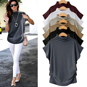 0a8e90bbd Plus Size Womens Batwing Sleeve T-Shirt Blouse Summer Plain Casual ...