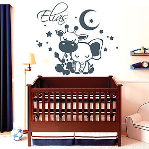 11069 wandtattoo elefant giraffe schlafen sterne mond kinderzimmer aufkleber ebay. Black Bedroom Furniture Sets. Home Design Ideas