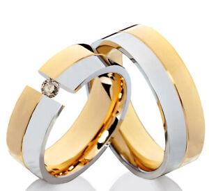2-Eheringe-Trauringe-mit-echtem-Diamant-Verlobungsringe-aus-Edelstahl-ELB15