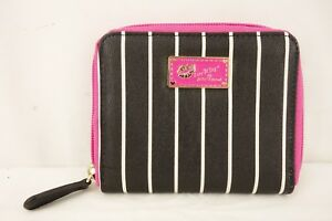 BETSEY-JOHNSON-Luv-Betsey-Wallet-Bi-Fold-Black-White-Striped-Pink-Zip-Around