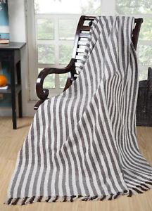 Large-BROWN-amp-NATURAL-STRIPE-100-Cotton-Sofa-Bed-Throw-153x229cm