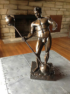 Details About Eugene Sandow Bronze Sculpture Weightlifting Trophy Mr Olympia Statue Art Old