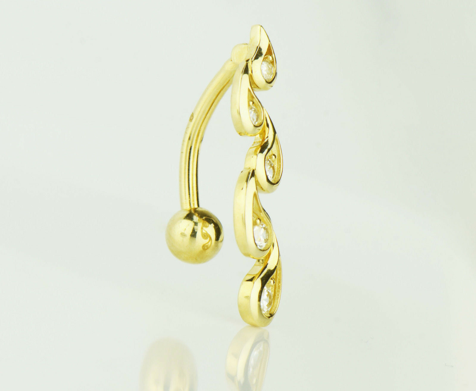 14k Yellow or White gold greenical Drop Top Down Belly Botton Ring.